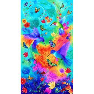 Panneau de tissu patchwork grands Colibris - 60 x 110 cm