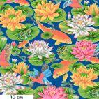 Tissu patchwork Snow Leopard lotus et carpes - Secret Stream