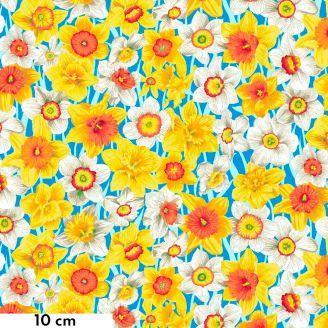 Tissu patchwork Snow Leopard Narcisses fond bleu - Secret Stream
