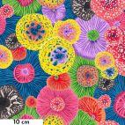 Tissu patchwork Snow Leopard anémones multicolores - Secret Stream