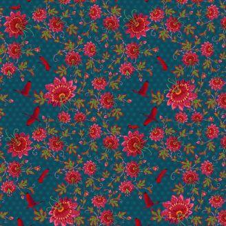 Tissu patchwork Odile Bailloeul passiflores fuchsia et grues fond bleu - MagiCountry