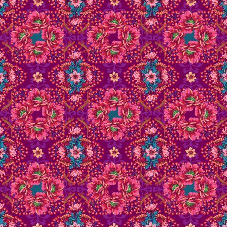 Tissu patchwork Odile Bailloeul bouquets géométriques rose fuchsia - MagiCountry