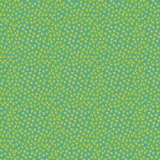Tissu patchwork Odile Bailloeul pétales verts fond bleu - MagiCountry