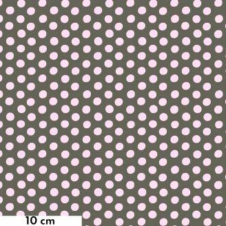 Tissu Kaffe Fassett pois blancs fond gris Spot GP70