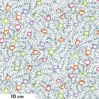 Tissu Kaffe Fassett lichen fleuri gris GP184