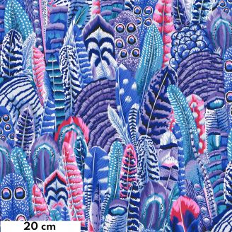 Tissu Philip Jacobs plumes bleues PJ055