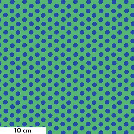 Tissu Kaffe Fassett pois bleu foncé fond vert (Spot)