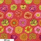Tissu Kaffe Fassett rouge big Blooms GP91