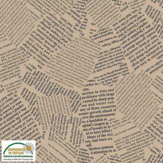 Tissu patchwork coupures de presse fond beige - Quilters Combination