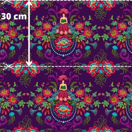 Tissu patchwork Odile Bailloeul jeune femme en fleurs fond violet - MagiCountry