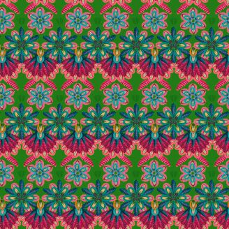 Tissu patchwork Odile Bailloeul frises de fleurs fuchsia et vert - MagiCountry