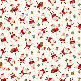 Tissu patchwork Père Noël et cadeaux fond écru - Santa Express