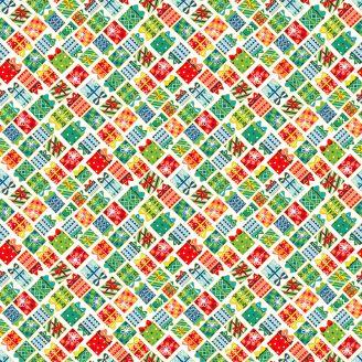 Tissu patchwork cadeaux verts fond écru - Santa Express
