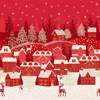 Tissu patchwork double bordure village de Noël rouge - Scandi