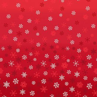 Tissu patchwork flocons de neige fond rouge en dégradé - Scandi