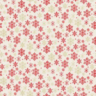 Tissu patchwork écru flocons rouges et dorés - Scandi