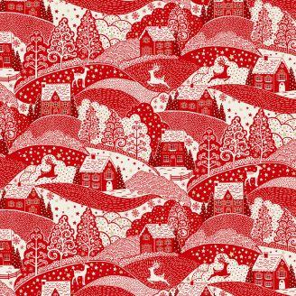 Tissu patchwork collines à Noël rouge - Scandi