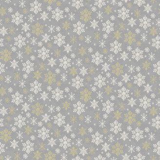 Tissu patchwork gris flocons blancs et dorés - Scandi