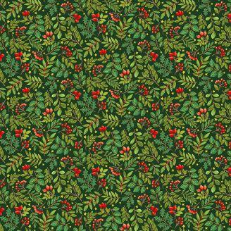Tissu patchwork houx et gui fond vert - Classic Foliage