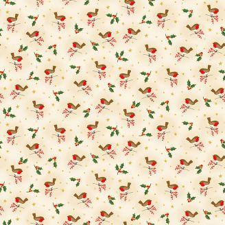 Tissu patchwork rouge gorge fond crème - Classic Foliage