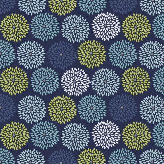 Tissu Patchwork dahlias fond bleu marine