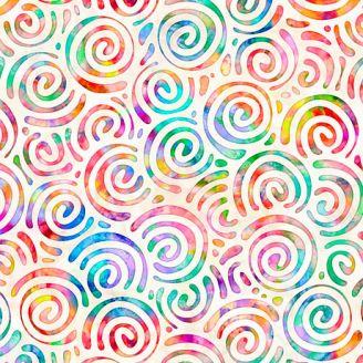 Tissu patchwork spirales multicolores fond écru - Brilliance