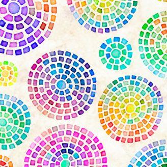 Tissu patchwork mosaïques multicolores fond écru - Brilliance