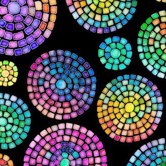Tissu patchwork mosaïques multicolores fond noir - Brilliance