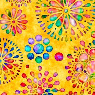 Tissu patchwork rosaces multicolores fond jaune - Brilliance