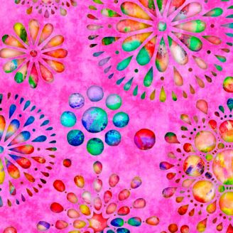 Tissu patchwork rosaces multicolores fond rose - Brilliance