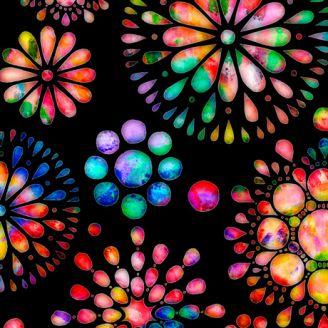 Tissu patchwork rosaces multicolores fond noir - Brilliance