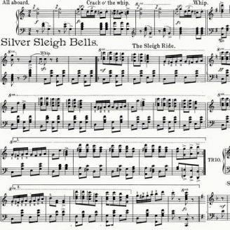 Tissu patchwork partition de musique de Noël fond blanc