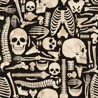 Tissu patchwork squelette fond noir - Hallowen