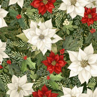 Tissu patchwork poinsettias blanc et rouge - Christmas