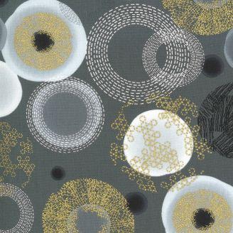 Tissu patchwork ronds écru doré fantaisies fond gris - Dance in Paris de Zen Chic