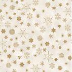 Tissu patchwork flocons dorés fond crème - Christmas is near