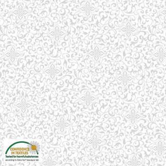 Tissu Patchwork lierre stylisé gris sur blanc