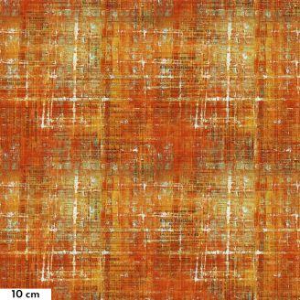 Tissu patchwork vieux papiers peints en orange - Abandoned II de Tim Holtz