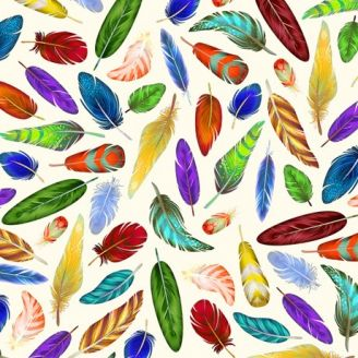 Tissu patchwork plumes multicolores fond blanc
