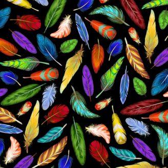 Tissu patchwork plumes multicolores fond noir