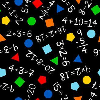Tissu patchwork mathématiques et géométrie fond noir - Top of the Class