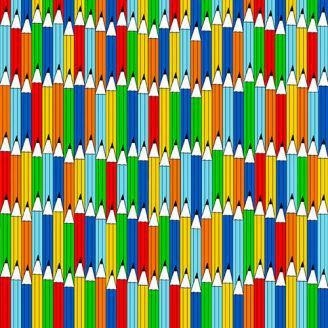 Tissu patchwork crayons de couleurs - Top of the Class
