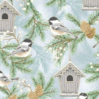Tissu patchwork mésange et nichoir en hiver - Home Sweet Home