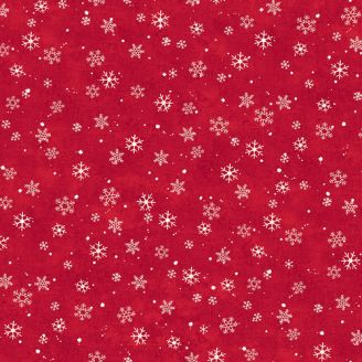 Tissu patchwork flocons de neige fond rouge - Winterwood