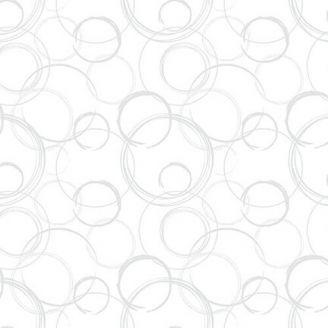 Tissu Patchwork cercles gris clair fond blanc - Lower the volume