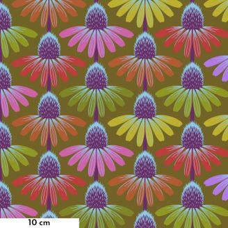 Tissu patchwork fleurs d'échinacées multico fond kaki - Love Always d'Anna Maria Horner