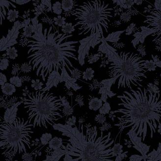 Tissu patchwork grande largeur noir à fleurs Bloom