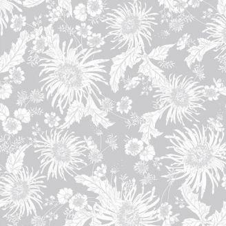 Tissu patchwork grande largeur gris à fleurs blanches Bloom