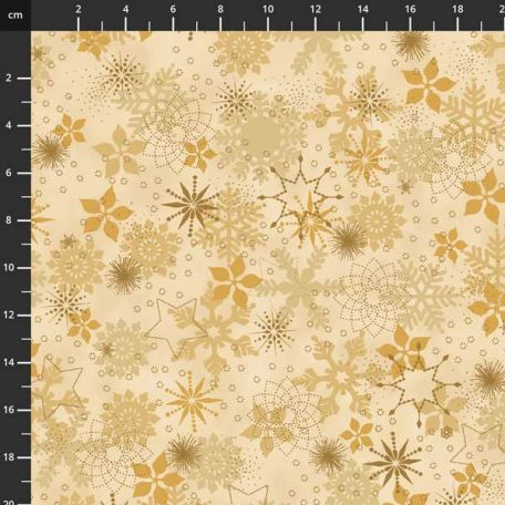 Tissu patchworks flocons beige doré ton sur ton - Christmas is near