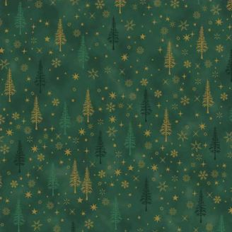 Tissu patchwork sapins fond vert forêt - Christmas is near